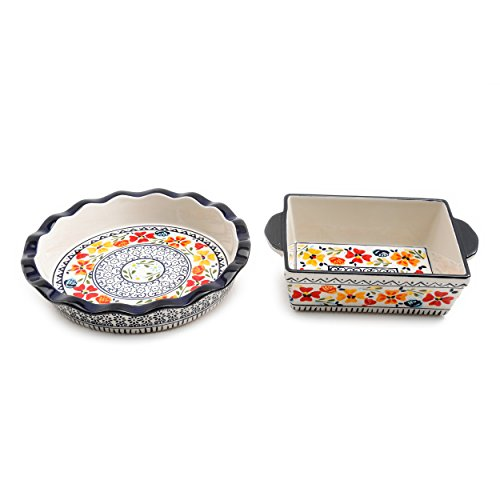 Gibson Luxembourg Handpainted 10.5' Pie Dish & 8' Square Bakeware, One Size, Blue and Cream w/Floral Designs