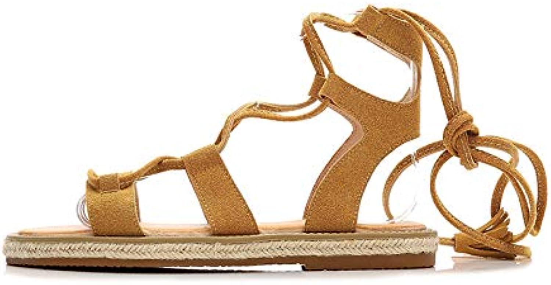 New Roman Knee High Gladiator Sandals Flat Women Cross Tie Summer shoes Punk Party Sandals shoes Flat Legging Design,B,39