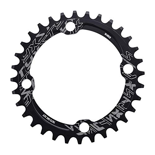 Keenso Bike Chain Ring, 32/34/36/38T BCD 104 Aluminum Alloy Mountain Bike Steel Single Crank Chain Ring Bicycle Repair Parts(32T-Black)