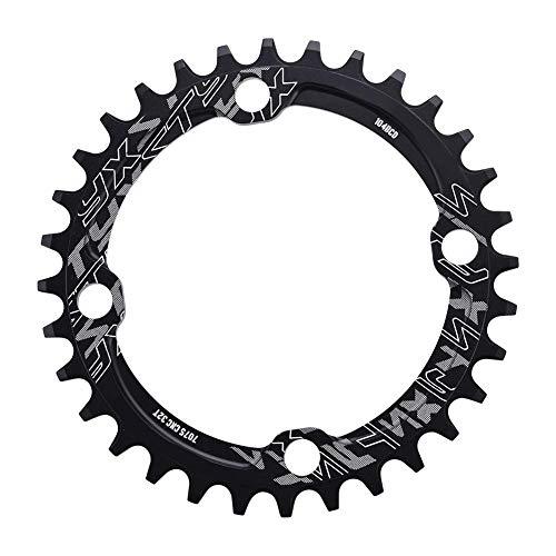 Plato de Bicicleta Montaña 32/34/36 / 38T, 104 BCD Plato Ancho de Aluminio de Solo Velocidad Manivela Anillo para Bicicleta de Carretera de Montaña BMX MTB (34T-Negro)