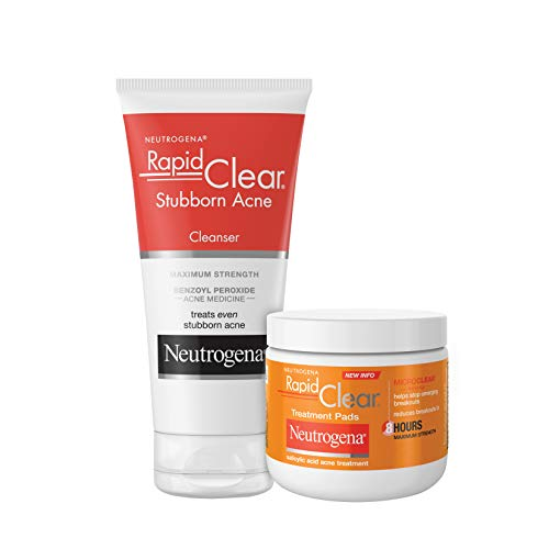 Neutrogena Rapid Clear Maximum Strength Acne Face Pads with 2% Salicylic Acid Acne Treatment Medication to Help Fight Breakouts, Oil-Free Facial Cleansing Pads for Acne-Prone Skin, 60 ct