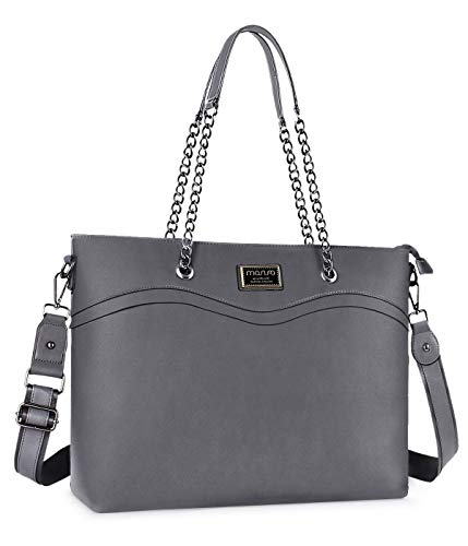 Mosiso laptoptas voor dames, premium PU-leer, business work travel shopping schouder boutique, armband, handtas, aktetas met kettinggreep en multi-compartiment grijs