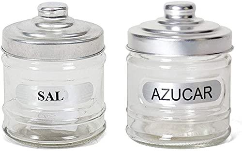 Set de 2 Botes uno para sal y otro para azúcar 700 ml, 15 x 10 cm .Bote cristal ,Salero, Azucarero , Torro cristal, Recipiente vidrio.
