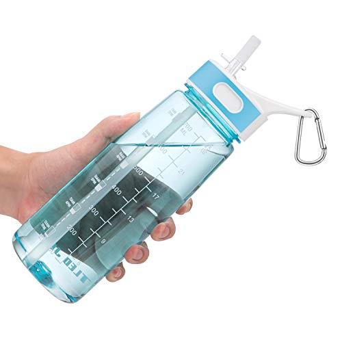 VENNERLI Borraccia Acqua con Cannuccia,Bottiglia Sportiva Plastica 800 ml BPA-Free Borraccia d'Acqua a Prova di Perdite Portatili, Borracce per Sport, Bambini, Scuola