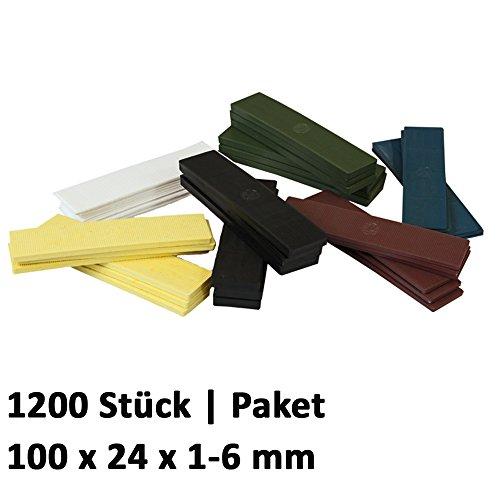 1200 x Kunststoff Verglasungsklötze Set Glasklötze Unterleger 100x24x 1, 2, 3, 4, 5, 6 mm Distanzklötze Trageklötze Abstandshalter