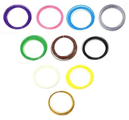 Filamento abs 1.75 mm - materiali - 100 metri - stampante e penna 3d - in 10 colori - 10 metri ciascuno - ricarica hobby creativi - idea regalo originale - ottima qualita