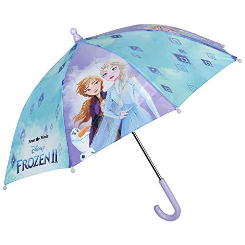 Kinder Regenschirm Frozen 2 Hellblau Lila - Disney Anna Elsa Eiskönigin Kinderschirm mit Sicherheitsöffnung für Kleinkind 3 bis 5 Jahren - Mädchen Schirm Windfest Stabil - Durchmesser 76 cm - Perletti