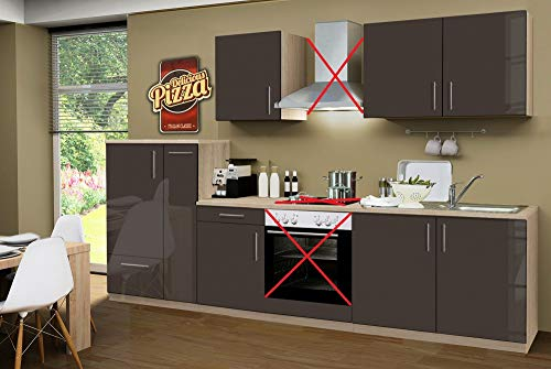 Menke Küchenzeile 300 cm Hochglanz Lava ohne Geräte mit Spüle - Smart Lack Hochglanz Lava