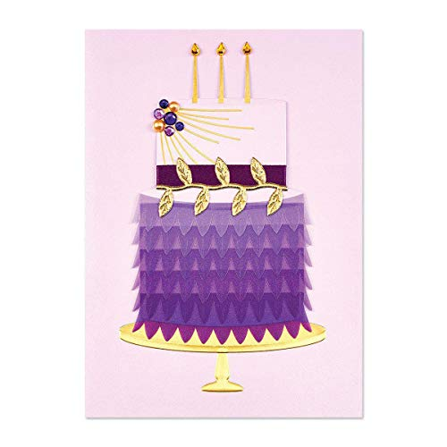 Papyrus Lavender Feather Cake Birthday Card