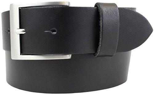 Gürtel aus 100% echtem Leder 4 cm | Jeans-Gürtel für Damen Herren 40mm | Spaltleder-Gürtel in 4cm | Schwarz 115cm