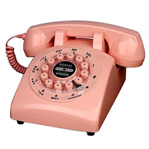 Telepho Festnetzanschluss, Retro-Stil Nur Für Festnetztelefone Klassisches Festnetztelefon Mit Drehknopfnummern, In Verschiedenen Farben Und Stilen Erhältlich (Stil : Pink-Button Version)