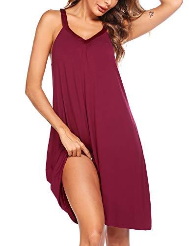 Ekouaer Womens Sleeveless Nightgown Sleepwear Summer Slip Night Dress,Red,Large