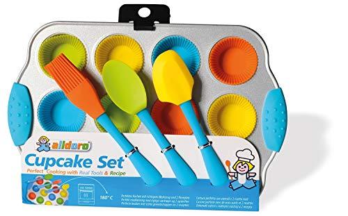 alldoro 61518 Mini Set, 16 teiliges Muffin Förmchen Backset, 12 Silikon Muffinformen und Muffinblech aus Metall, Antihaft Backformen für Cupcakes mit Küchenutensilien, für Kinder ab 5 Jahren