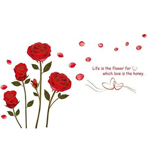 Stonges Etiqueta engomada de la pared de la flor rosa roja Vinilo extraíble arte mural para sala de estar dormitorio decoración del hogar