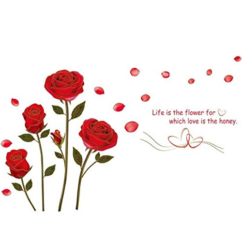 Stonges Etiqueta engomada pared flor rosa roja Vinilo
