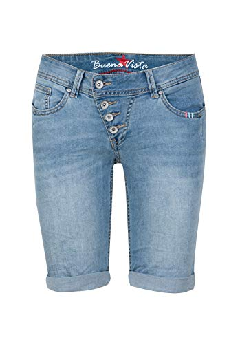 Buena Vista Jeans Malibu Short Stretch Denim mit Stick-Details in Blau, Größe S