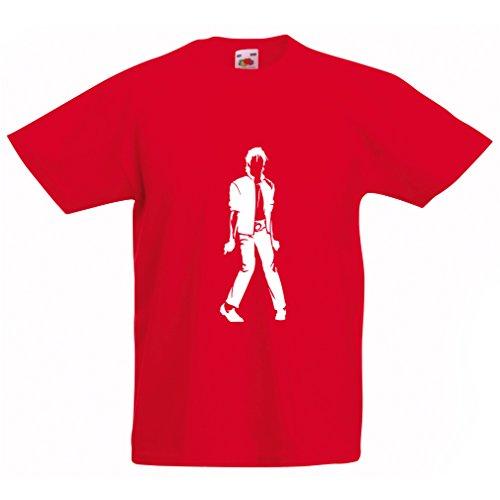 lepni.me Camiseta para Niño/Niña Me Encanta M J - Rey del Pop, 80s, 90s Músicamente Camisa, Ropa de Fiesta (14-15 Years Rojo Blanco)