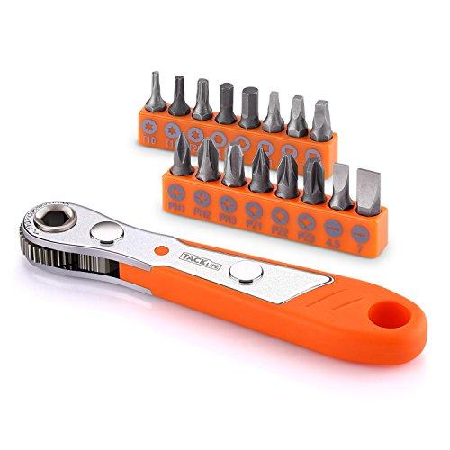 17-tlg. Ratschenschlüssel, Tacklife HRSB1A Mini Schraubenschlüssel Bit-Set, Pocket Größe, mit Knarre, 1/4