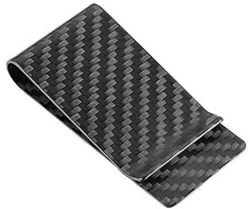 Travelambo Carbon Fiber Money Clip Front Pocket Wallet Minimalist Wallet Slim Wallet Credit Business Card Holder (CB black)