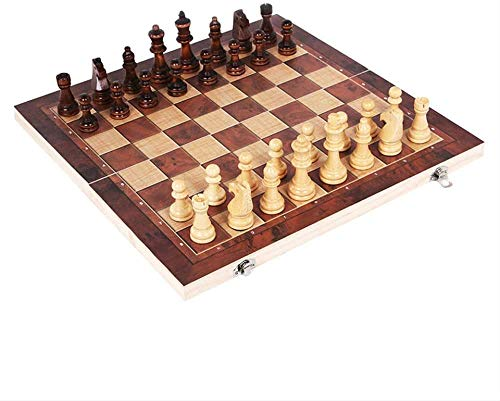 Lloow Ajedrez de Madera 3 en 1, Damas de Backgammon, Juegos de Interior o Exterior, Tablero de ajedrez,Fiesta de Entretenimiento de Rompecabezas Chess 2020,44 * 44cm