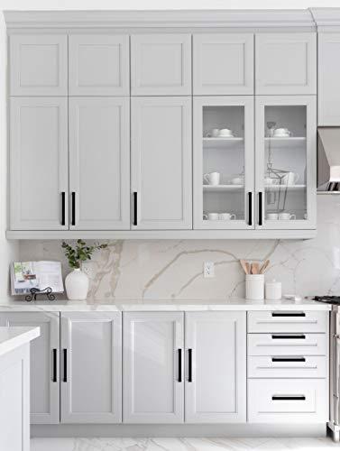 Ravinte 30 Pack 5 Inch Kitchen Square Cabinet Handles Matte Black Cabinet Pulls Black Drawer Pulls Kitchen Cabinet Hardware Kitchen Handles for Cabinets Cupboard Handles Drawer Handles