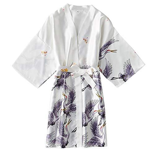 LILIHOT Frauen Pyjama Seide Wie Moderner Kran Reizvoller Nachthemd Bademantel Reizvolle UnterwäSche Damen Kimono Morgenmantel Satin Robe Kurz Bademantel Schlafanzug NachtwäSche Satin Nachthemd