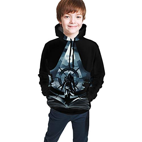 Kids Assassin's Creed Hoodie Youth Pullover Sarcastic Sweatshirt for Boys and Girls 10-12 Years Black