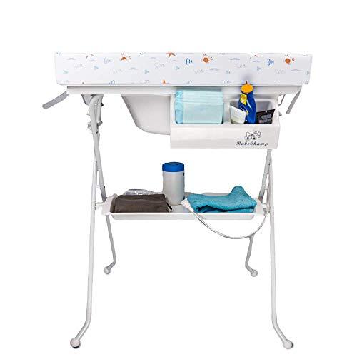 Babe Champ - Wickeltisch mit Badewanne - Wickelkommode klappbar - 4 Dekore - Wasserwelt Wickelkommode für Baby | Wickelkombination Wickelauflage Kommode| Wickelregal