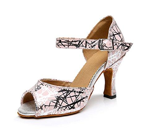 Honeystore Neuheiten Frauen's Leder Heels Stoffdruck Absatzschuhe Moderne Latein-Schuhe mit Knöchelriemen Tanzschuhe LD0111 Rosa 37 CN