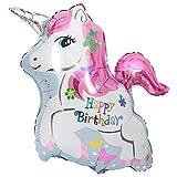DIWULI, Einhorn-Luftballon Happy Birthday, Geburtstagsballon, Weiss rosa Folien-Luftballon, Horn,...