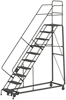 Tri-Arc KDHS110246 10-Step Heavy-Duty Safety Angle Steel Rolling Industrial & Warehouse Ladder with Perforated Tread