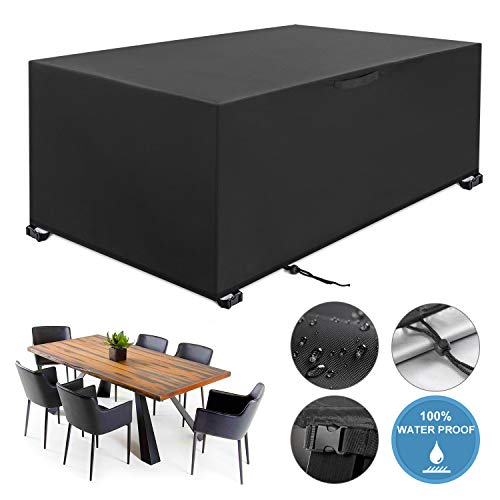 YISSVIC Garden Furniture Cover Waterproof Furniture Covers Outdoor Patio Furniture Covers Rectangular Windproof and Anti-UV Garden Table Covers 242x162x100cm (213x132x74cm)