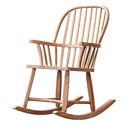 XLSQW Durable Schaukelstuhl aus Holz Eiche Natur Holz Schaukelstühle Umweltschutz Holzwachs-Öl-Prozess - Terrassenmöbel im Freien Innen