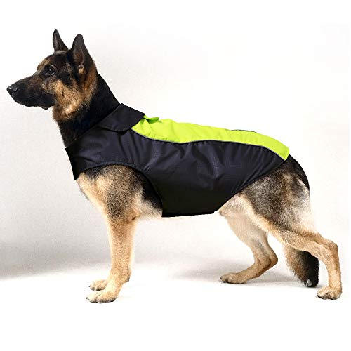 HiGuard Dog Raincoat Lightweight Waterproof Large Pet Dog Rain Jacket with Strip Reflective & Leash Hole Winter Dog Vest Warm Rain Coats Safety for Dogs and Puppies (XXXL, Green)