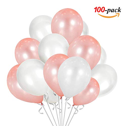 JOJOR Luftballons Rose Gold Weiß, 100 Stück Luftballons Rosegold, Ballons Rosegold Helium für Hochzeit Verlobung Valentinstag Mädchen Kinder 18 Geburtstag Taufe Kommunion JGA Party Deko