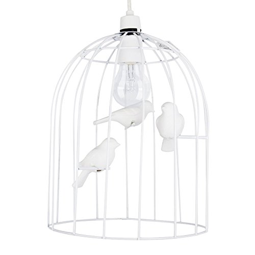 Stunning Gloss White Ornate Birdcage Chandelier Ceiling Pendant Light with White Decorative Ceramic Birds
