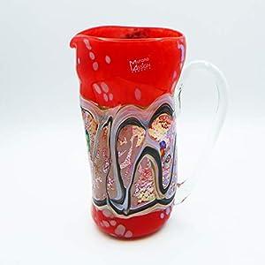 Jarra estilo: bocetos rojo de cristal de Murano abierto a mano, envuelto con manchas y hilos opacos fundidos en su interior. Original Murano Glass. Fabricado en Italia.