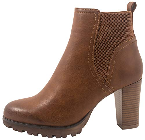 Jumex Damen Stiefeletten Ankle Boots Chunkyrayan BZ66019-KB Camel-37