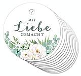 24 ANHÄNGER Mit Liebe gemacht • Rosen Weiß • Hängeetiketten Geschenkanhänger Glas...
