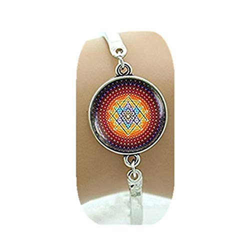 Pulsera de joyería de cristal con diseño de mandala de india, geometría sagrada Sri Yantra