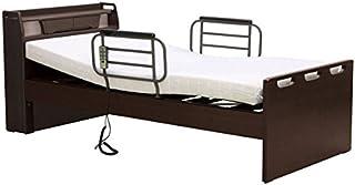 介護ベッド 電動ベッド MFB-890 ワイヤーコントローラー シングルサイズ フレーム+マットレスセット (非課税品) 1モーター (専門業者組立て, ダークブラウン)