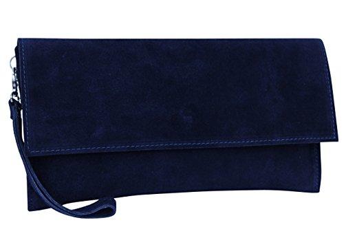 AMBRA Moda Damen Wildleder Clutch Handtasche veloursleder Tasche Handschlaufe WL811 (Marineblau)