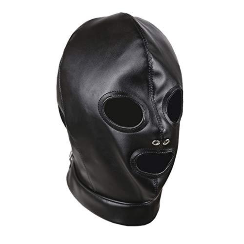 Hellery Unisex Máscara de Cuero PU Cubierta Facial Completa de Ojos Abiertos