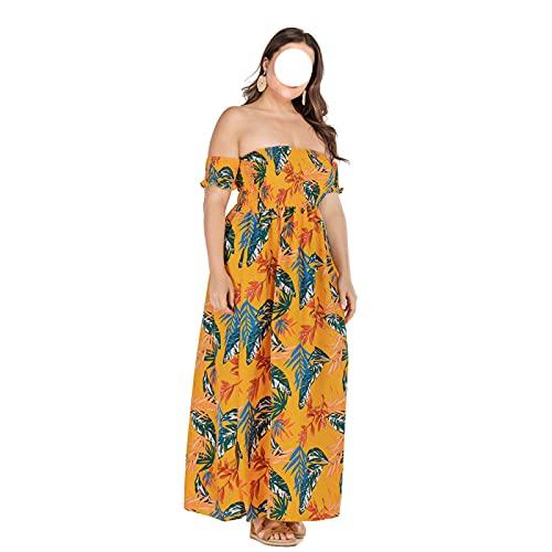 Vestido de Camiseta Mujer Verano Calle Moda Mujer Vestido de Talla Grande con Cuello de Palabra y Vestido Rockabilly con Gran Swing
