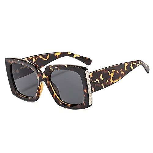 U/N Gafas de Sol cuadradas de Camuflaje únicas para Mujer, Gafas de Sol con gradiente Vintage para Mujer, Gafas de Leopardo Negras para Hombre, Sombras-5