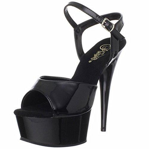 Pleaser DELIGHT-609 Womens Shoes, Black Patent/Black, Size 11