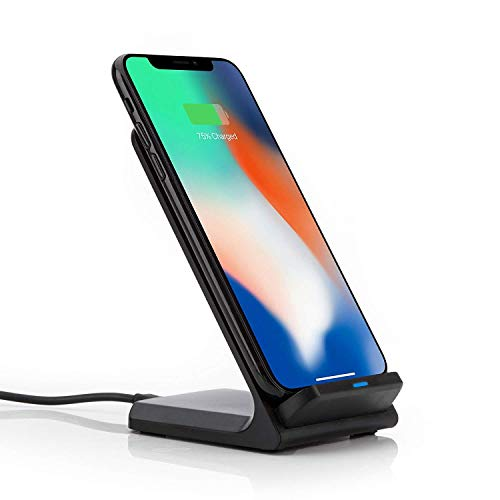 Qi Dockingstation Ladestation Wireless Charger Ladegerät kompatibel mit iPhone Xs Max, Xr Xs X 8 8 Plus Huawei P30 Pro 20 Pro Mate 20 Pro Samsung Galaxy S10 S9 Plus S9 S8 Note 9 etc. in Schwarz