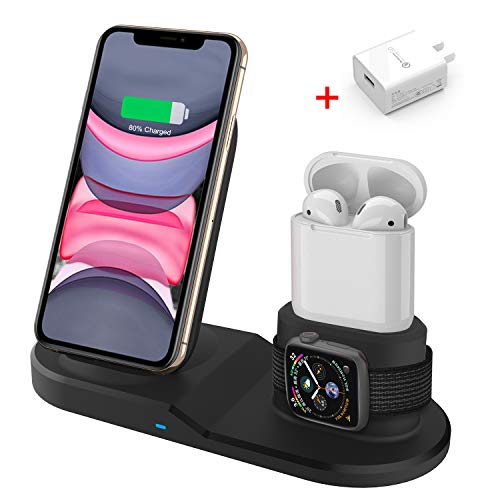 Wireless Charger, 3 in 1 Wireless Charging Station for Apple, Wireless Charging Stand for Apple Watch and iPhone Airpod Compatible for iPhone 11 Pro/X/XS/XR/Xs Max/8 Plus iWatch 5 4 3 2 1 Airpods1 2