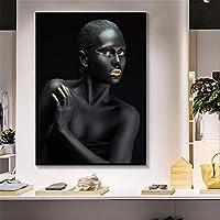 ファッションキャンバス絵画 リビングルームのためのアフリカのアート黒とゴールド女性ポスターとプリントスカンジナビアウォールアートピクチャー (Color : Lye1527 01, Size (Inch) : No frame 60x80cm)