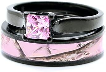 Pink Womens Black Camo Wedding Rings Set Stainless Steel Engagement Rings